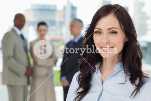 Businesswoman showing a great smile in front of the camera