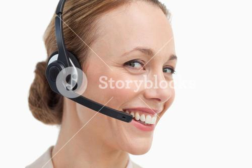 Portrait of a businesswoman with a headset
