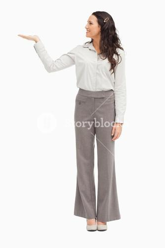 Employee presenting with her hand held out
