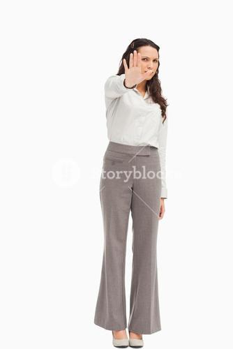 Businesswoman with her hand held out