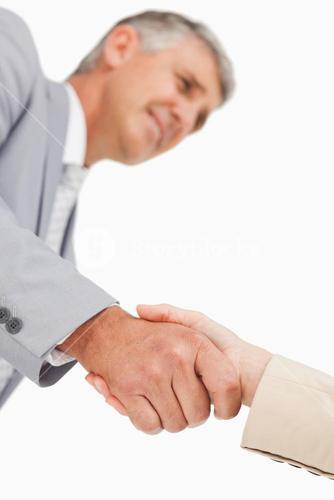 Low angleshot of a hand shake