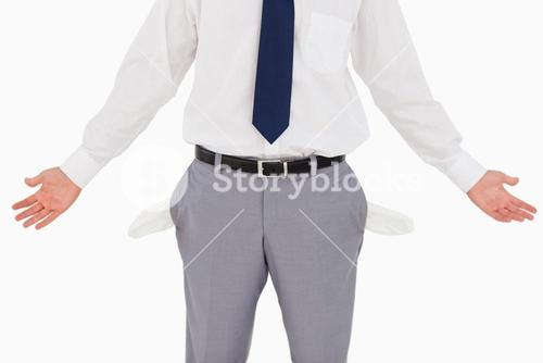 Man showing his empty pockets and hands
