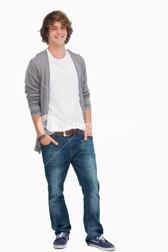 Male student posing hands in pockets