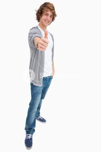 Happy male student posing the thumbup
