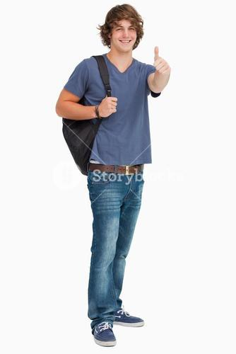 Smiling male student with a backpack the thumbup