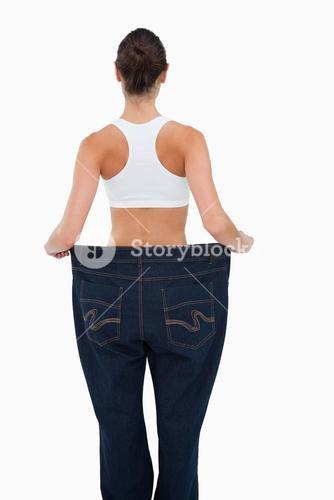 Rear view of a woman who lost a lot of weight