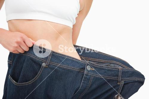 Close up of a woman waist who lost a lot of weight