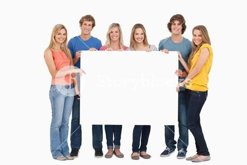 A group of people holding blank sheet