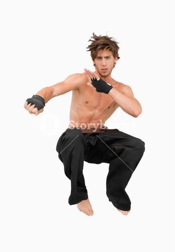 Jumping martial arts fighter