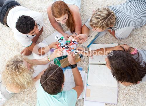 Teenagers studying Science on the floor