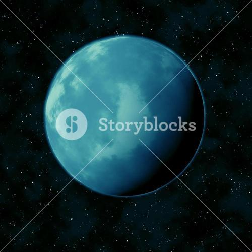 Blue planet in the star sky