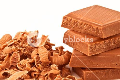 Pile of chocolate pieces and chocolate shavings