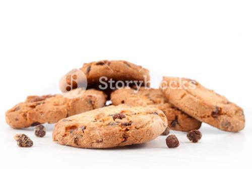 Tasty cookies with chocolate chops