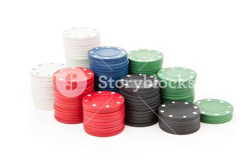 Poker coins stacked up together