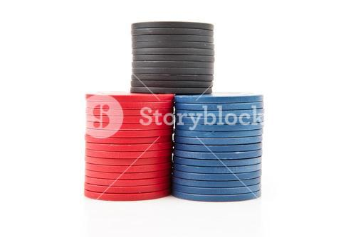 Colourful poker coins