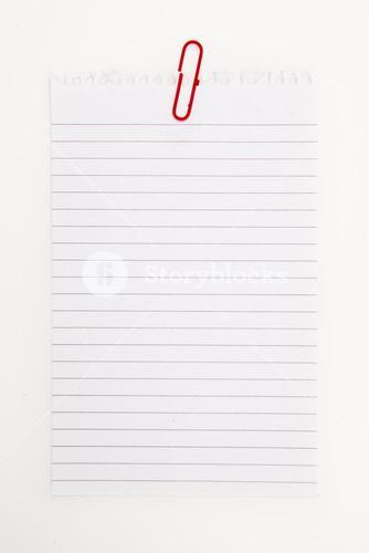Blank page with red paperclip