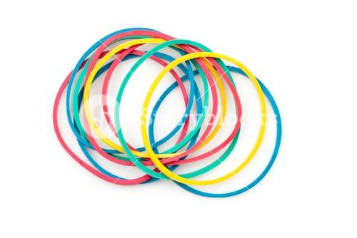 Group of multi coloured elastics