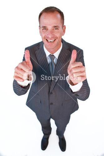 High angle of a manager with thumbs up