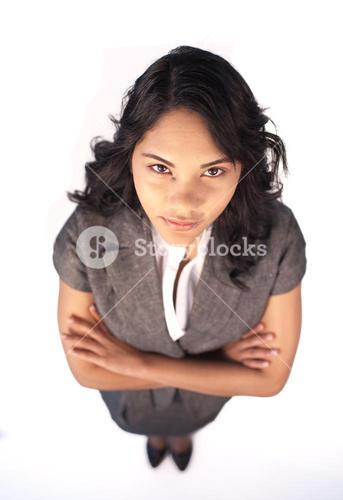 High angle of serious businesswoman