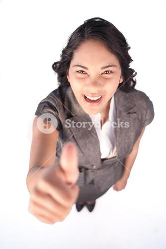 High angle of a businesswoman with thumb up
