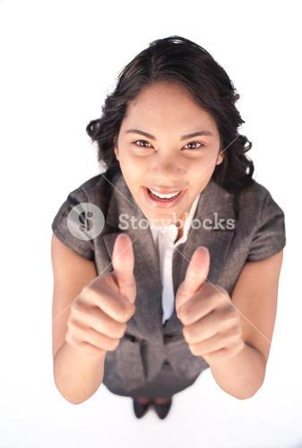 High angle of a happy businesswoman with thumbs up