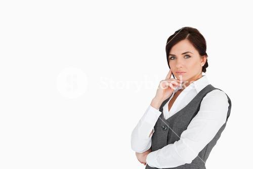 Businesswoman with blue eyes posing
