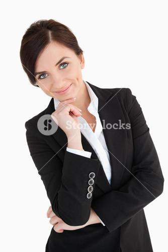 Welldressed woman with blue eyes