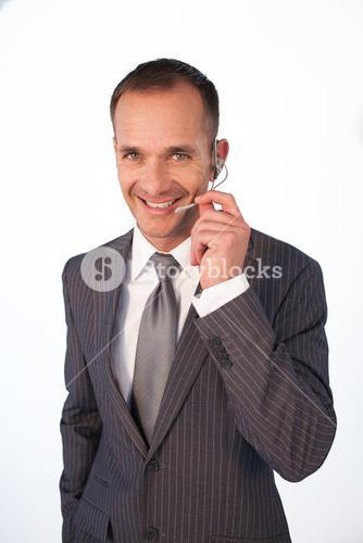 Happy customer service representative with headset on