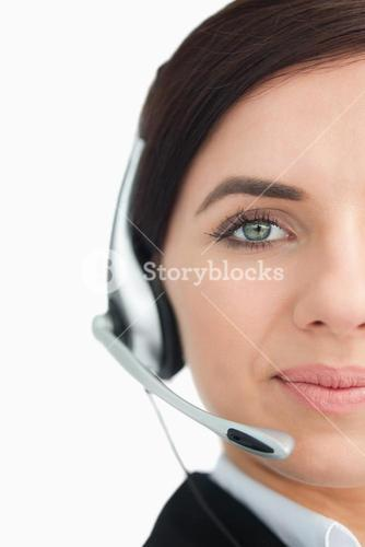 Blue eyed businesswoman with headset
