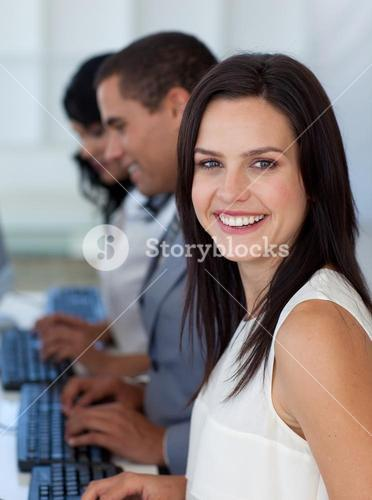 Beautiful businesswoman working in a company