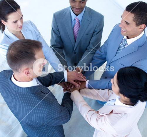 Business team with hands together