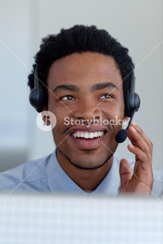 Businessman in a call center