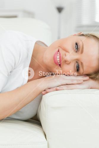Woman smiling while she rests