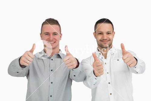 Men putting their thumbs up
