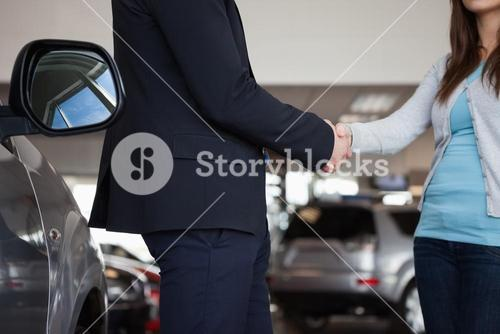 Salesman shaking hand of a woman
