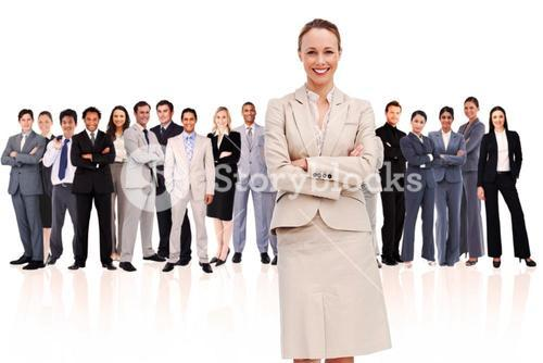 Businesswoman standing up in foreground