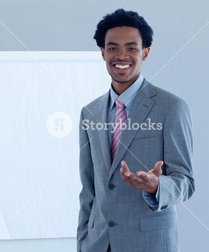 Businessman introducing stock market
