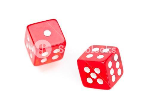 Two red dices moving