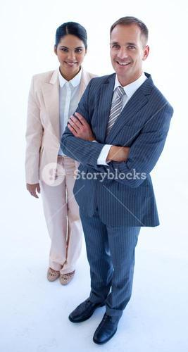 High angle of standing businesswoman and businessman