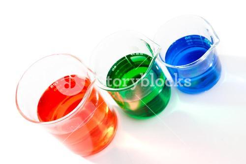 Three beakers of different colour and size