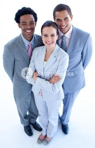 High angle of smiling business team