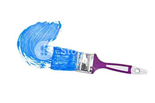 Blue brush stroke forming a semicircle