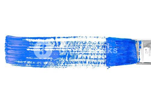 Blue horizontal line of painting