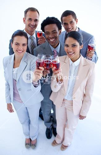 High angle of business team drinking wine