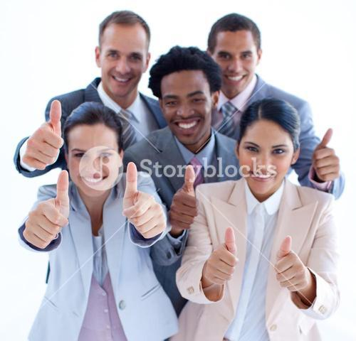 High angle of business team with thumbs up