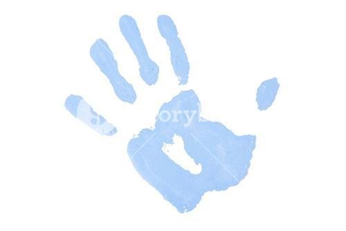 One blue handprint