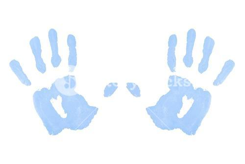 Two blue symmetric handprints
