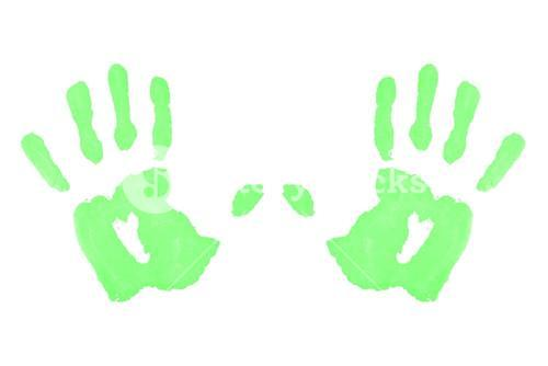 Two green symmetric handprints
