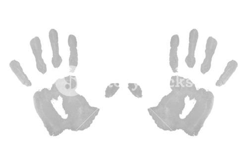Two grey symmetric handprints