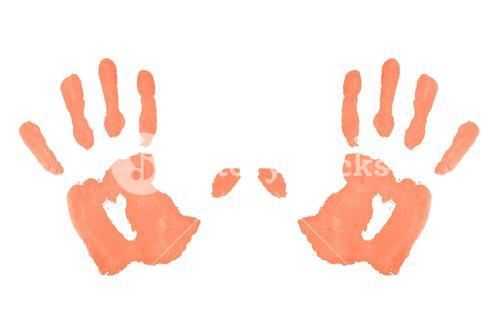 Two red symmetric handprints